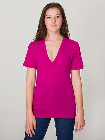 Unisex Sheer Jersey Short Sleeve Deep V-Neck