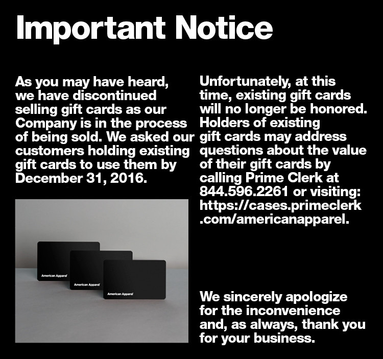 gift card notice