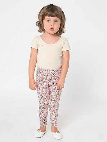 Kids Floral Printed Cotton Spandex Jersey Legging