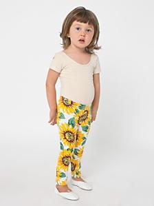 Kids' Floral Printed Cotton Spandex Jersey Legging