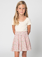 Kids Printed Cotton Spandex Jersey Wide Waistband Skirt