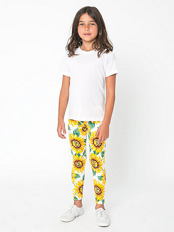 Youth Floral Printed Cotton Spandex Jersey Legging
