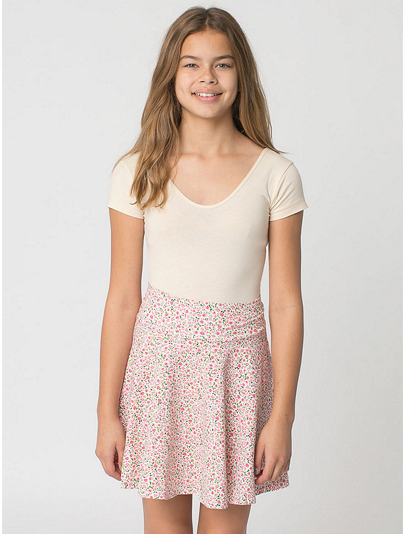 Floral Print Youth Cotton Spandex Jersey Wide Waistband Skirt