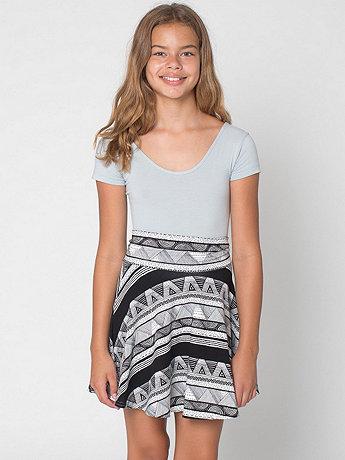 Afrika Print Youth Cotton Spandex Jersey Wide Waistband Skirt