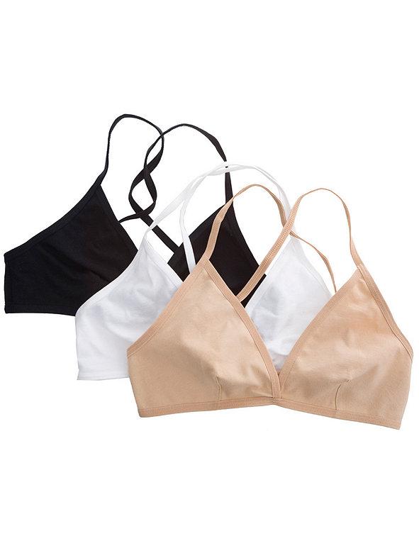 Cotton Spandex Jersey Cross-Back Bra (3-Pack)