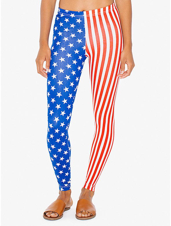 US Flag Print Cotton Spandex Jersey Legging