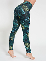 Jungle Leaves Print Cotton Spandex Jersey Legging