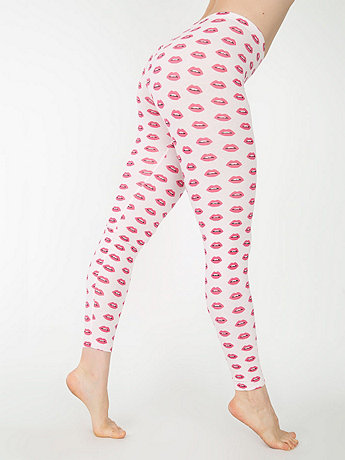 Pink Lips Print Cotton Spandex Jersey Legging