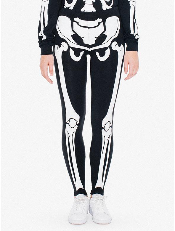 Unisex Glow Skeleton Cotton Spandex Jersey Legging