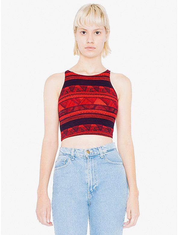 Printed Cotton Spandex Jersey Sleeveless Crop Top