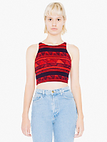 Printed Cotton Spandex Jersey Sleeveless Crop Top