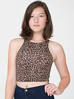 Leopard Print Cotton Spandex Sleeveless Crop Top