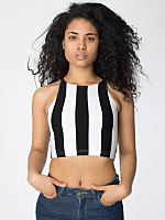 Stripe Cotton Spandex Sleeveless Crop Top