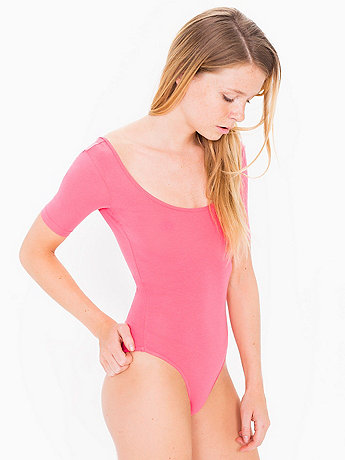 Cotton Spandex Jersey Short Sleeve T-Shirt Leotard
