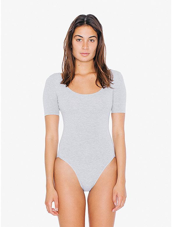 Cotton Spandex Short Sleeve Double U Bodysuit
