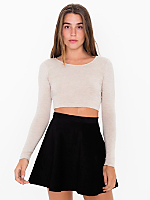 Cotton Spandex Jersey Long Sleeve Crop Top