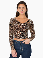 Print Cotton Spandex Jersey Long Sleeve Crop Top