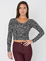 Energized Print Cotton Spandex Jersey Long Sleeve Crop Top