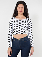Lips Print Cotton Spandex Jersey Long Sleeve Crop Top