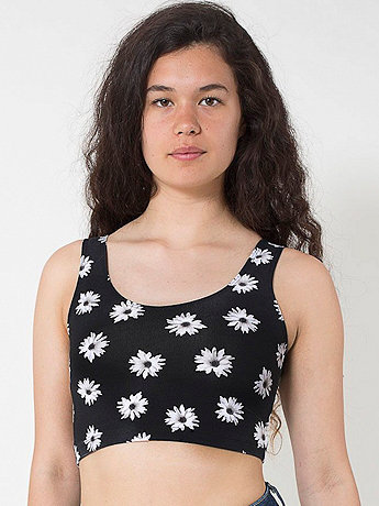 Floral Printed Cotton Spandex Crop Tank