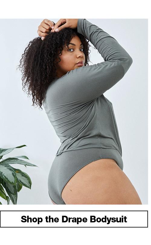 Mix Modal Long Sleeve Drape Bodysuit