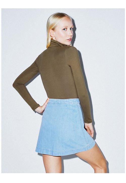 Denim Button front A-line Mini Skirt