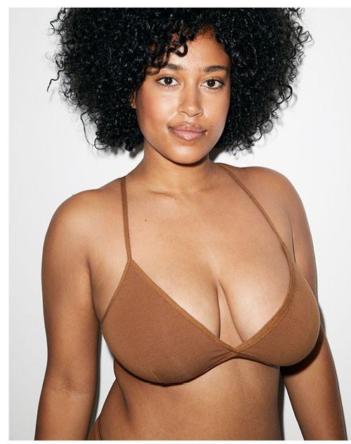 Nude 4 Cotton Spandex Jersey Crossback Bra