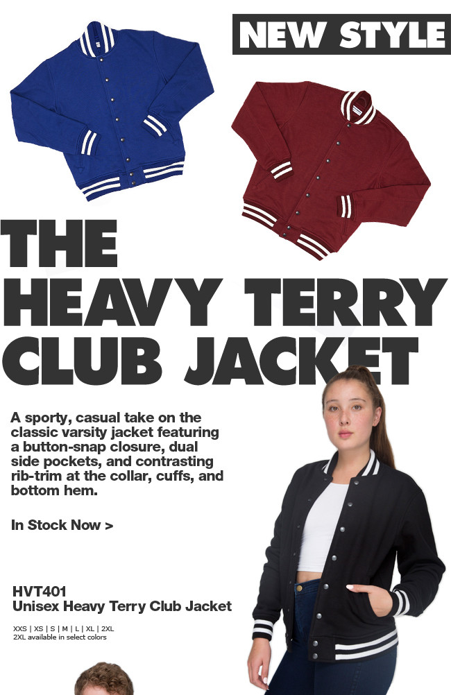 New to Wholesale: The Heavy Terry Club Jacket!