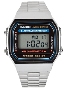 A168WA-1UWD Casio Silver & Black Digital Watch