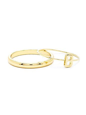 Gold Tone ABC Stacking Ring Set