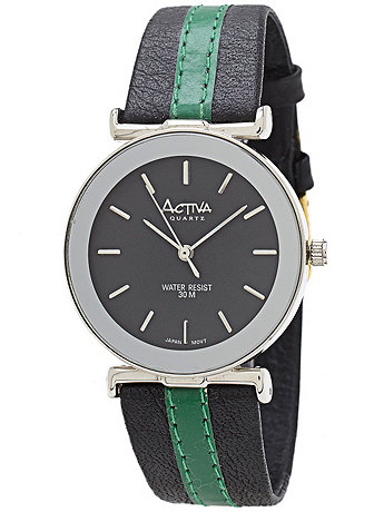 Activa Circle Leather Wristwatch