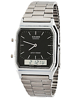 AQ-230A-1D Casio Silver & Black Dual Time Watch