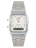 AQ-230A-1DW Casio Silver & White Dual Time Watch