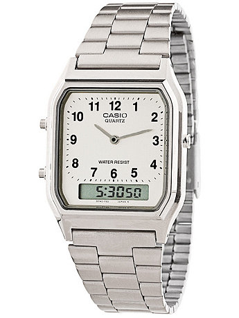 AQ230A-7B Casio Silver & White Dual Time Watch