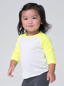 Infant Neon Poly-Cotton 3/4 Sleeve Raglan