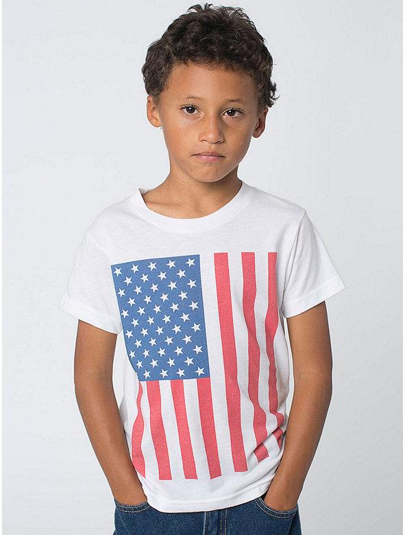 US Flag Print Kids' Poly-Cotton Short Sleeve Crew Neck