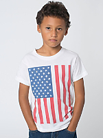 US Flag Print Kids Poly-Cotton Short Sleeve Crew Neck