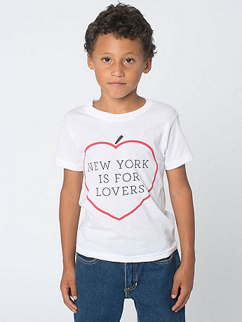 NY Lovers Print Kids Poly-Cotton Short Sleeve Crew Neck