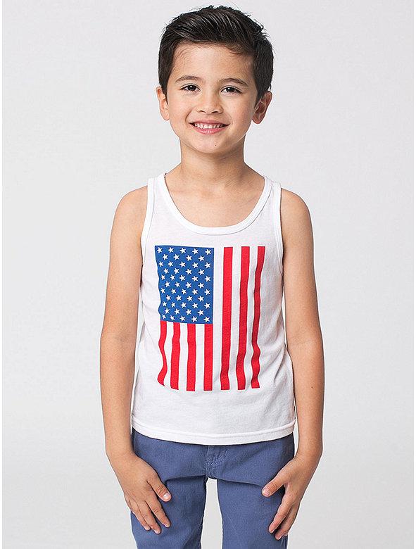 US Flag Print Kids' Poly-Cotton Tank