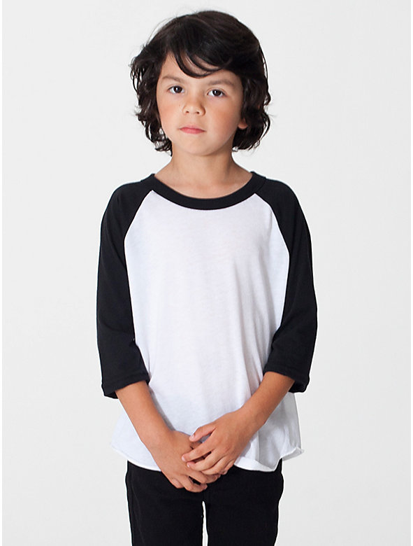 Kids' Poly-Cotton 3/4 Sleeve Raglan