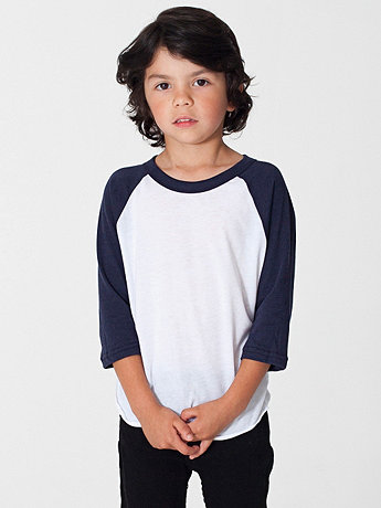 Kids Poly-Cotton 3/4 Sleeve Raglan