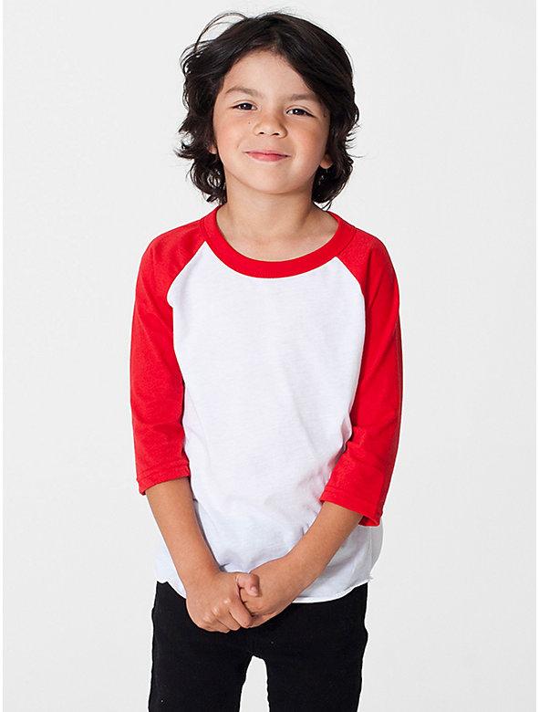 Kids' Poly-Cotton 3/4 Sleeve Raglan