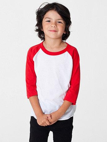 Kids Poly-Cotton 3/4 Sleeve Raglan