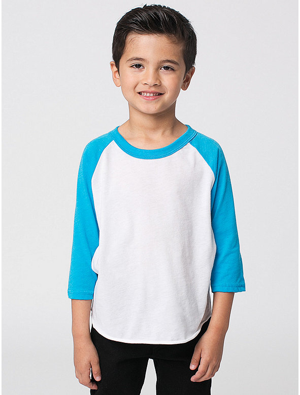 Kids' Neon Poly-Cotton 3/4 Sleeve Raglan