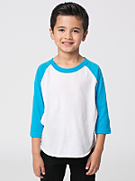 Kids Neon Poly-Cotton 3/4 Sleeve Raglan