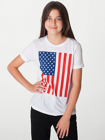 US Flag Print Youth Poly-Cotton Short Sleeve Crew Neck