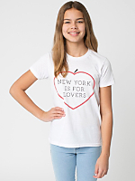Screen Printed Youth Poly-Cotton Short Sleeve Crew Neck - New York Lovers