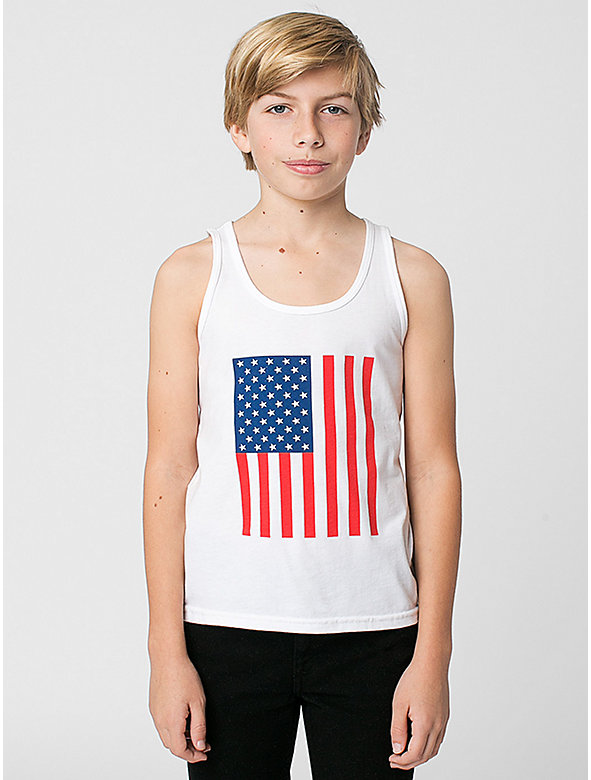 US Flag Print Youth Poly-Cotton Tank