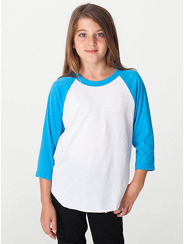 Youth Neon Poly-Cotton 3/4 Sleeve Raglan