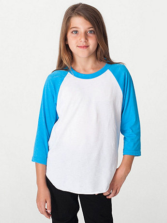 Youth Neon Poly-Cotton 3/4 Sleeve Raglan